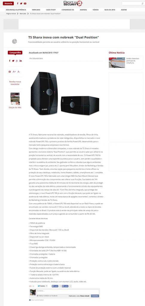 TS Shara inova com Nobreak Dual Position - Digital Security
