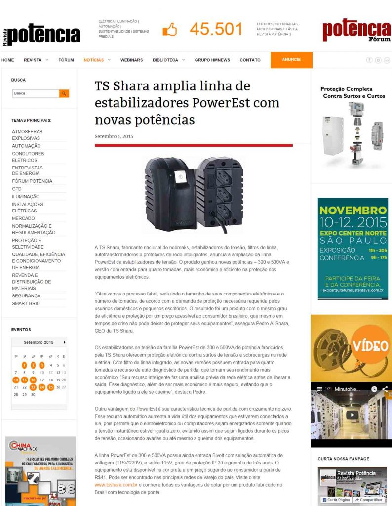TS Shara amplia linha de Estabilizadores - Potência
